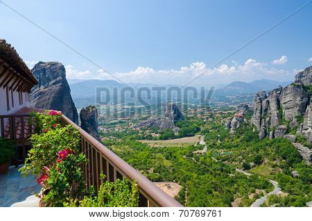 Greece, Meteora View From The Monastery Of St. Barbara