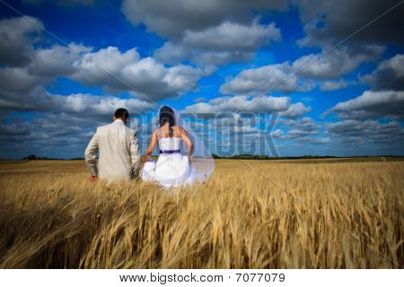 Wedding Couple Against Blue Sky Among Rye Field Simbolizing Fertility