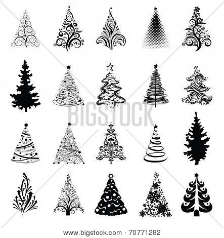 Various stylized Christmas trees! Vector eps8 poster