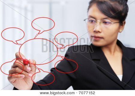 Asian geschäftsfrau glas Board schreiben.