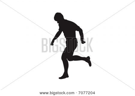 Vector black silhouette of running football player