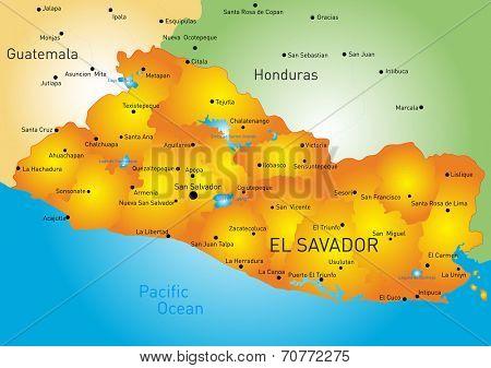 Vector color map of El Salvador country
