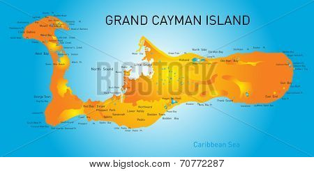 Grand Cayman islands vector map