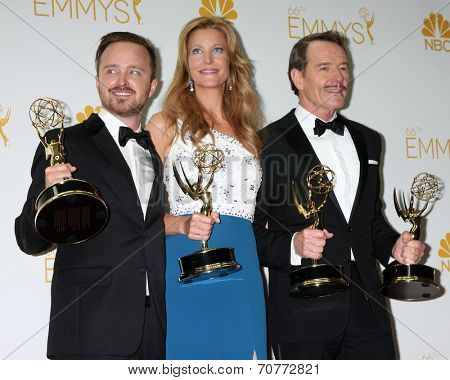 LOS ANGELES - AUG 25:  Aaron Paul, Anna Gunn, Bryan Cranston at the 2014 Primetime Emmy Awards - Press Room at Nokia Theater at LA Live on August 25, 2014 in Los Angeles, CA