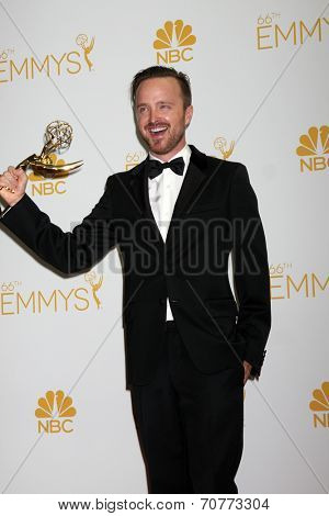 LOS ANGELES - AUG 25:  Aaron Paul at the 2014 Primetime Emmy Awards - Press Room at Nokia Theater at LA Live on August 25, 2014 in Los Angeles, CA