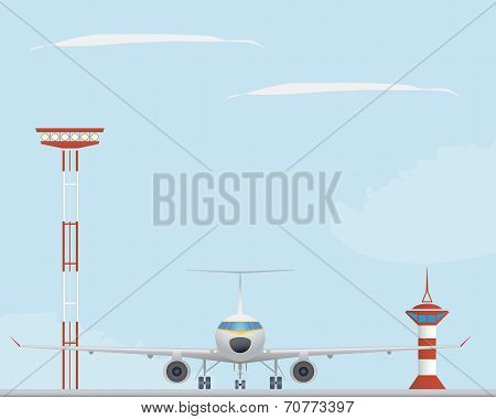 Plane, Light Tower  And Control Tower