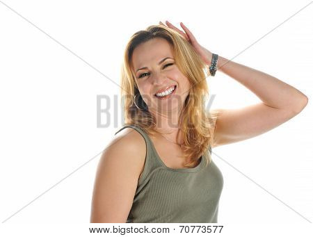 Portrait Of Young Smiling Blonde With Brown Eyes In A Green T-shirt With A Raised Hand Isolated On W