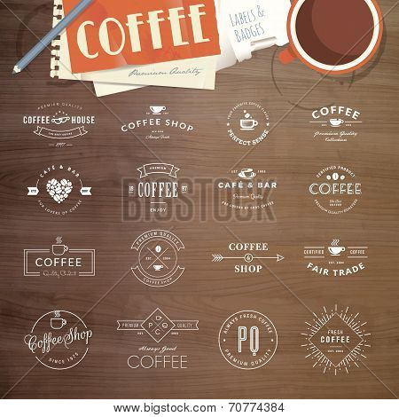 Set of labels and badges for coffee