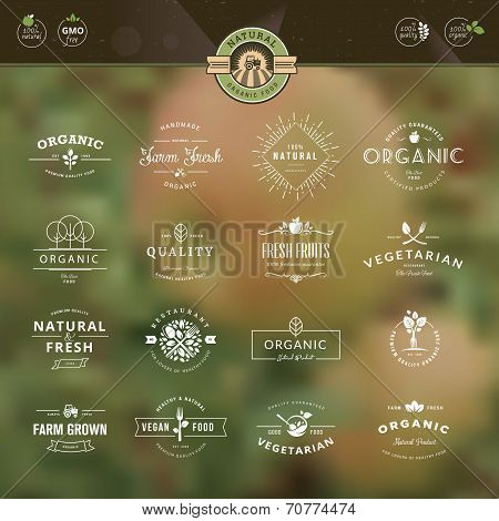 Set of labels and badges for organic food and drink
