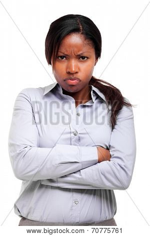 Angry black woman isolated on white
