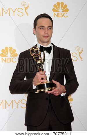 LOS ANGELES - AUG 25:  Jim Parsons at the 2014 Primetime Emmy Awards - Press Room at Nokia Theater at LA Live on August 25, 2014 in Los Angeles, CA