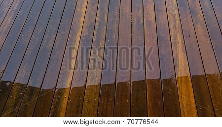 Wet Timber Floorboards Background