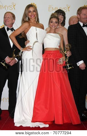 LOS ANGELES - AUG 25:  Sofia Vergara, Sarah Hyland at the 2014 Primetime Emmy Awards - Press Room at Nokia Theater at LA Live on August 25, 2014 in Los Angeles, CA
