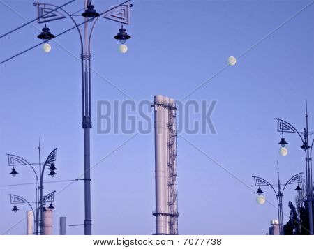 Street Lamp Pylons, Industry Pipes, Moon, Day Light