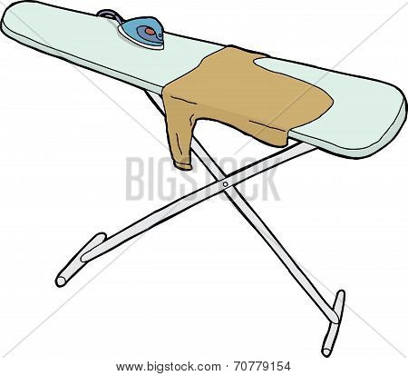 Isolated Ironing Board And Shirt