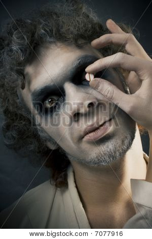 man in make-up