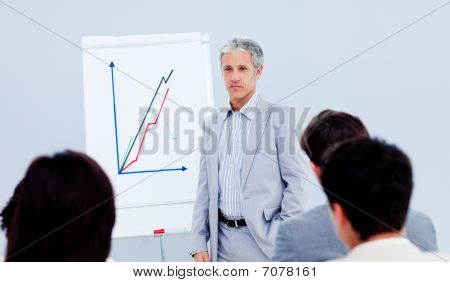 Senior Manager Giving A Presentation To His Colleague