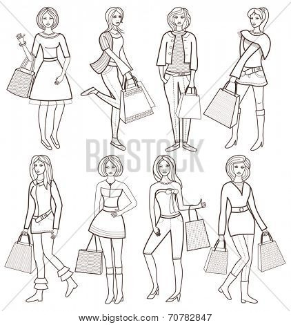young fashion girls (vector illustration for coloring book)