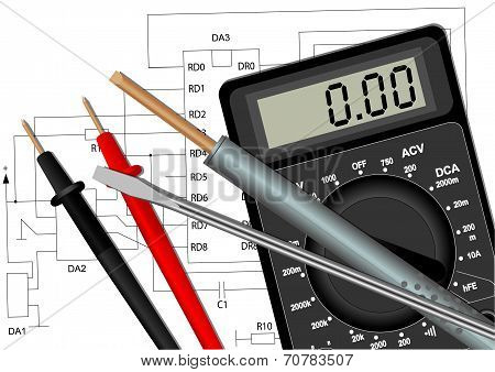 Soldering Iron Screwdriver And Multimeter
