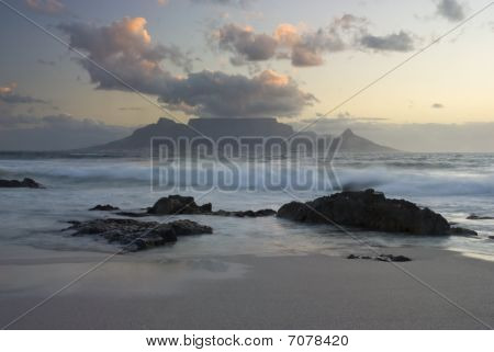 Table Mountain And Waves