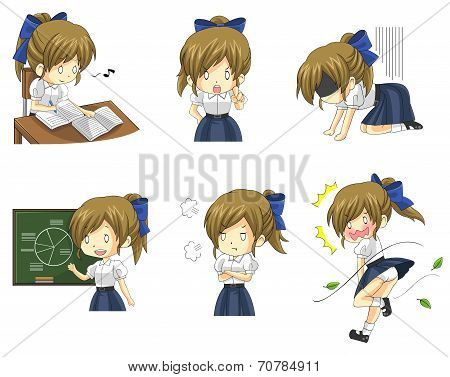 Cute Thai Schoolgirl Student In Various Activities And Emotion Icon Set 3 (vector)
