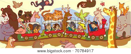 Kids Travel Through The Wilderness Safari By Train (vector)