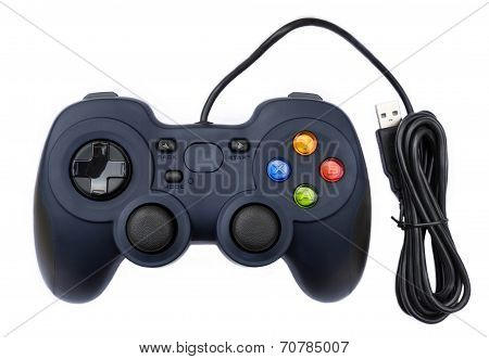 Black Joystock For Console Video Game In Isolated Background