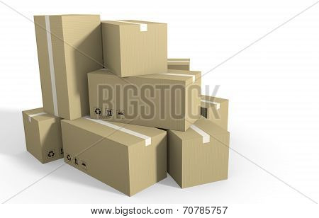 Big stack of cardboard boxes ready for shipping
