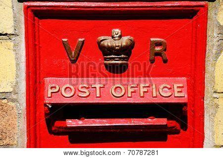 Red Victorian post box.