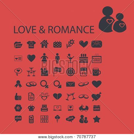 love, romance, heart, family isolated icons, signs, symbols, illustrations, silhouettes, vectors set