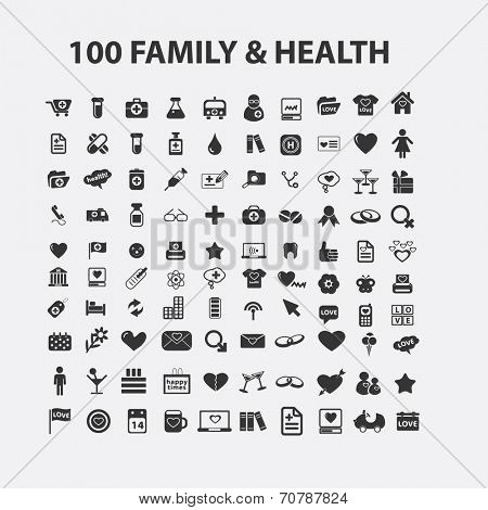 100 family, love, health isolated icons, signs, symbols, illustrations, silhouettes, vectors set