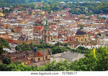 Panoramic Sight Of Town Lviv In Ukraine