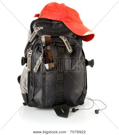 Black Backpack With Red Cap And Glasses