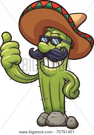 Mexican cartoon cactus. Vector clip art illustration with simple gradients. All in a single layer.