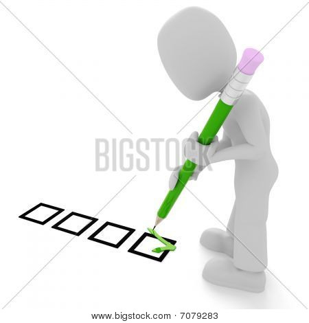 3d man, ticks and cross, isolated on white background
