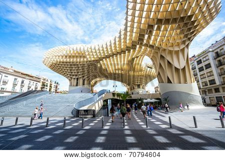 Seville, Spain, Jun 5 2014: Metropol Parasol is the modern architecture on Plaza de la Encarnacion on Jun 5, 2014 in Seville, Spain.  It was designed by the German architect Jurgen Mayer-Hermann.