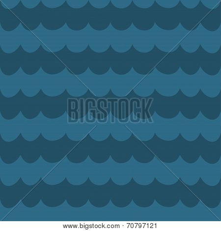 Sea Blue Wave Background, Wavy Seamless Pattern, Abstract Sea Background, Vector