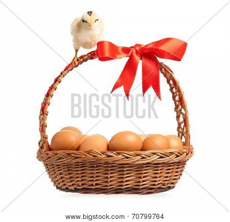 �?��?�¡ute little chickens on eggs inside basket, isolated on white background