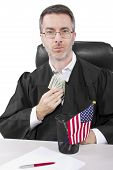 pic of corrupt  - corrupt american judge taking money as a bribe or stealing - JPG