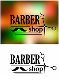 stock photo of scissors  - Black and white retro barber shop emblem or logo with moustache - JPG