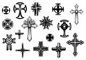 stock photo of crucifix  - Religious crosses set isolated on white background for religious - JPG