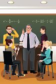 pic of professor  - A vector illustration of college students having a discussion with their professor in the classroom - JPG