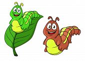 image of caterpillar cartoon  - Cartoon funny caterpillar characters in two variations - JPG