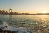 stock photo of costa blanca  - Sunny early morning on Benidorm resort Costa Blanca Spain  - JPG