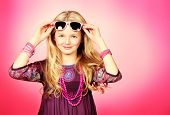 picture of beads  - Little fashion girl in beautiful dress - JPG