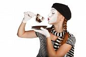 picture of clown rose  - Mime comedian drinking coffee isolated on white background - JPG