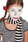pic of clown rose  - Portrait of a sad mime comedian isolated over white background - JPG