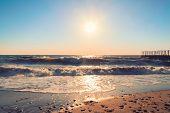 stock photo of crimea  - Beautiful sunset over the Black sea in Crimea - JPG
