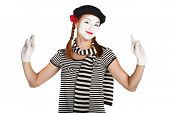 foto of clown rose  - Portrait of a comedian dressed up as a mime isolated over white background - JPG