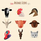 foto of animal husbandry  - Farm Animals Icons on White Background in Flat Style - JPG